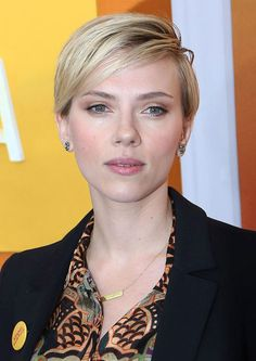 The 38 Most Iconic Pixie Cuts of All Time: SCARLETT JOHANSSON: At the He Named Me Malala premiere, 2016. Side-swept bangs turn Scarlett's haircut from ordinary to extraordinary.