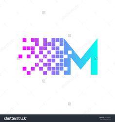 Letter M Logo Design.Network Digital Logo Icon Template ...