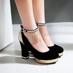 Shoes For Women Leatherette Chunky Heel Heels Heels Casual Black White Gray