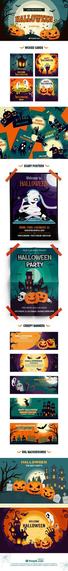 Free Halloween Banners & More I am not going to lie. Halloween is my favorite time of the year. You get to dress up and throw fun costume parties with your friends. That s where this week s awesome freebie comes in. Exclusively by Freepik, we have a collection of free Halloween banners, posters, and graphics you [ ]