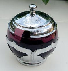 1932 Farber Bros Glass Amethyst Sugar Bowl by gumbygirl on Etsy, $18.00