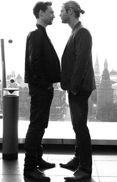 Chris Hemsworth & Tom Hiddleston. personal space problems.