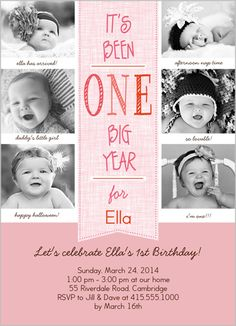 Love the idea of different pictures from the baby's first year for the birthday invite.
