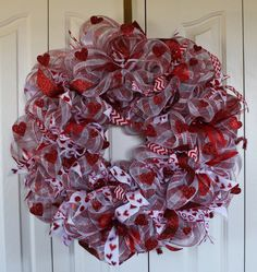 Glitter Heart Ribbon Wreath by Mady Bella Designs