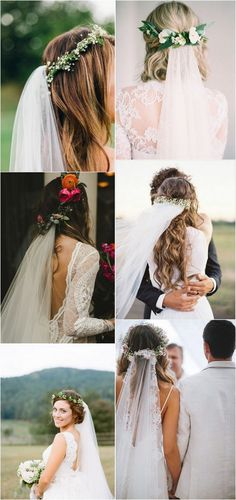 Wedding hairstyles with flower crown and veil #weddinghairstyles #bidalfashion #hairstyles #weddingcrowns