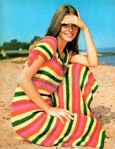 Ladies Dress for Summer Wear is a Striped Peasant Dress 70s Vintage Crochet Pattern Maxi Dress 2 free patterns Beret Tote Bag- PDF Pattern by VintageBeso