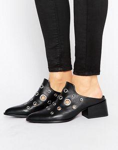 Sol Sana | Sol Sana Clarice Eyelet Leather Mid Heeled Mules