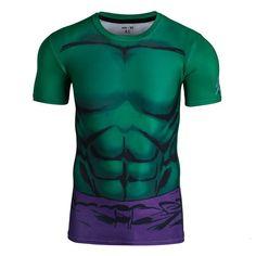 Superhero Short-Sleeve Compression Shirt - Hulk