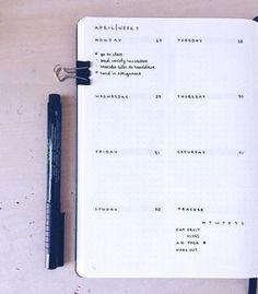 April weekly spread (bullet journal) - simple