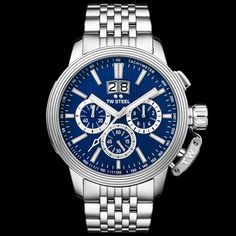 TW STEEL CEO ADESSO 48MM BLUE DIAL CHRONO WATCH