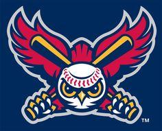 Orem Owlz Cap Logo (2005) - (B.P.) A red owl with a baseball head holding two baseball bats on blue background