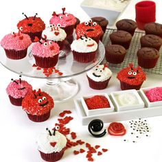 Love Bug Cupcakes    This links to a HSN kit, but these would be an easy DIY with sprinkles, candy eyes and licorice.