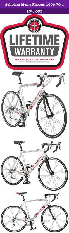 Schwinn Men's Phocus 1600 700C Drop Bar Road Bicycle, Silver, 18-Inch. The Schwinn Phocus 1600 men's road bicycle is the perfect drop bar road bike for the bike path or just going out for a good workout, lightweight and responsive makes this the perfect road bike. Equipped with a Schwinn aluminum road frame with a carbon fiber rigid road fork for quick and agile riding, Shimano Claris 16 speed rear derailleur with integrated brake lever shifting for quick gear shifting. The high profile...