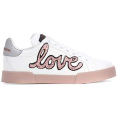 Dolce & Gabbana Embellished Leather Sneakers ($580) ❤ liked on Polyvore featuring shoes, sneakers, leather sneakers, dolce gabbana shoes, leather trainers, decorating shoes and white shoes