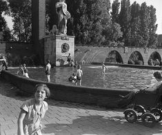 1952. A view of the Van Heutz-Monument with swimming pool at the Olympiaplein in Amsterdam-Zuid. The monument was originally intended as a badge of honor for General Van Heutsz, who was the commander of the Royal Netherlands East Indies Army and is also known for bringing Atjeh under Dutch rule. Due to a re-assessment of Dutch military operations in Indonesia, the name was later changed to Monument Indië-Nederland. Photo Stadsarchief Amsterdam / Nico Swaager. #amsterdam #1952…