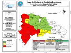 COE sitúa 10 provincias en alerta roja y 4 en amarilla por el paso del  huracán Matthew