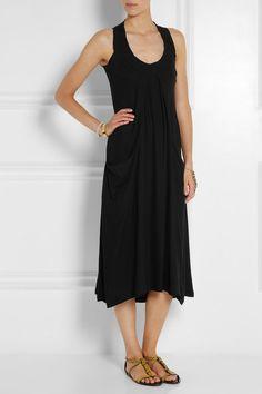 Donna Karandraped stretch-crepe midi dress black