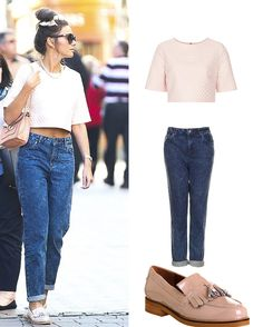 Hair - bun w/ bow scrunchie pink or white, Topshop textured bubble crepe tee pink (get on ebay), Topshop MOTO Indigo Acid Wash Mom Jeans, Office extravaganza nude patent leather, sunglasses, pink quilt chain mini satchel