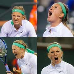 The roars of Vika. How many will we see in today's quarterfinal? #tennisemotions #BNPPO16 #roar #facialexpressions