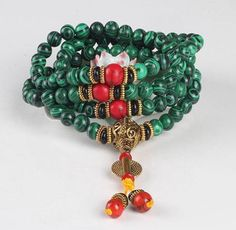 Nepal 8mm 108 Malachite Beads Meditation Bracelet Natural Stone Necklace