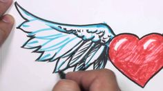 How to Draw a Heart with Wings, via YouTube.