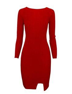 23d89d43538 Tom s Ware Women Stylish Slim Fit Knit Sweater Boat Neck Bodycon Dress  TWCWD078-RED-