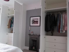 Drawers plus hanging. One side could have had long hanging Built In Wardrobe Ideas Alcove, Bedroom Built In Wardrobe, Alcove Ideas, Bedroom Alcove, Bedroom Storage, Home Bedroom, Alcove Cabinets, Bedroom Cupboards, Alcove Storage