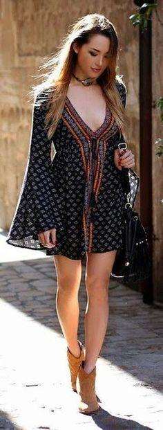 open neck bell sleeve boho dress - summer dress