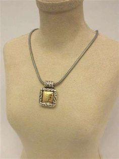 Brighton primrose pendant chain link necklace turquoise color brighton regina square hammered gold silverplate pendant necklace jn5831 nwt brighton pendant mozeypictures Images