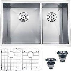 Ruvati Nesta 29'' x 19'' Undermount Double Bowl Kitchen Sink, Silver