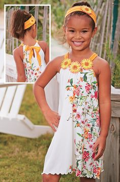 From CWDkids: Floral Neck Drawstring Dress & Flower Headband