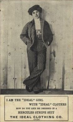 The Ideal Clothing Co.ad card: 1911 fashion style casual pants, sportswear, and work clothes.