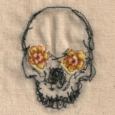 58 Ideas Sewing Art Gcse Embroidery For 2019 Embroidery Art, Cross Stitch Embroidery, Embroidery Patterns, Henna Patterns, Textiles, Sewing Art, Skull And Bones, Skull Art, Textile Art