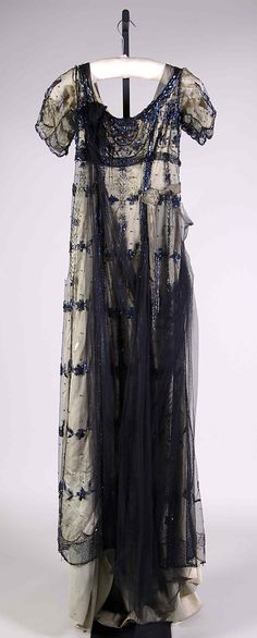"1908-1911 silk, beads, and metallic Evening dress by Herbert Luey. Label: ""H. Luey/New York & Brooklyn"" - via MMA."