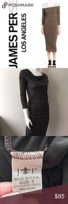 """James Perse Brown Dress James Perse Brown Dress comes in brown with long sleeves with side gathered rouging and sits over the knee in length. Size: 2 (M) but fits a small or medium. (Laying flat Unstretched) Bust: 34"""" Waist: 26"""" Hips: 36"""" Length: 47"""". 100% Tencel. Made in USA. The fabric is soft and light weight. James Perse Dresses Midi"""