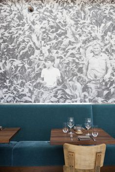 How cool is the photographic wallpaper in this restaurant?!