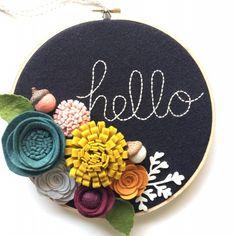 Embroidery Hoop Art Wall Art Hello 3 dimensional felt by nolaandvi Embroidery Hoop Crafts, Wooden Embroidery Hoops, Embroidery Hoop Art, Embroidery Designs, Etsy Embroidery, Felt Flower Wreaths, Felt Wreath, Felt Flowers, Paper Flowers