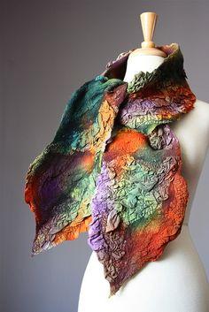 Nuno Felted scarf Wool silk whimsical Orange Green Purple Brown textured nunofelting by VitalTemptation by VitalTemptation , Etsy, via Flickr