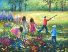 "Children Playing Art Print five kids, happy kids summer garden wall art, three girls, two boys, five children, Vickie Wade art,20"" X 20"" gallery wrapped canvas. The .8"" edges are painted to match the front. Varnished. No frame needed, only if desired.. SPRING time ART 26"