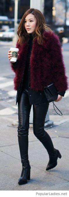 leather-pants-blouse-and-purple-fur-coat