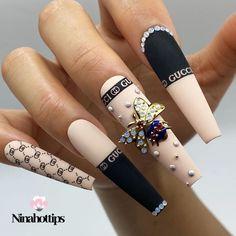 Summer Acrylic Nails, Best Acrylic Nails, Black Acrylic Nails, Nail Swag, Cute Acrylic Nail Designs, Cute Summer Nail Designs, Nail Polish Designs, Gucci Nails, Nagel Bling