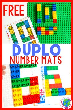 Fun free printable LEGO DUPLO Number Mats for toddlers and preschoolers. Kids can use DUPLO blocks and these counting mats to practice number recognition and one to one correspondence! Counting Activities, Hands On Activities, Toddler Activities, Free Printable Numbers, Free Printables, Lego Math, Lego Lego, Lego Batman, Playing With Numbers
