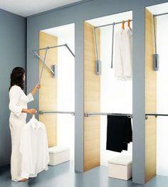 ordenacion armarios con barras hidraulicas in 2020 Wardrobe Design Bedroom, Walk In Wardrobe, Bedroom Wardrobe, Home Bedroom, Wardrobe Organisation, Wardrobe Storage, Organization, Walk In Closet Design, Closet Designs