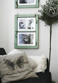 cool old windows turned into picture frames