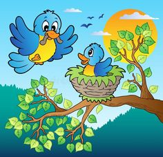 Illustration about Two blue birds with tree branch - vector illustration. Illustration of illustration, bird, birds - 22763086 Tree Drawing For Kids, Art Drawings For Kids, Bird Drawings, Art Drawings Sketches, Cartoon Drawings, Easy Drawings, Cartoon Trees, Cartoon Birds, Art Lessons For Kids