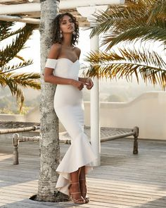 White Mermaid Prom Dress, Mermaid Bridesmaid Dress, Long Bridesmaid Dress - Want a glamorous red carpet look for a fraction of the price? This exquisite dress would be perfect - Ruffles Bridesmaid Dresses, High Low Bridesmaid Dresses, Elegant Prom Dresses, Mermaid Prom Dresses, Simple Dresses, Evening Dresses, Formal Dresses, Wedding Dresses, Mermaid Skirt