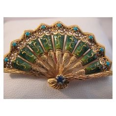 Vintage 18k Gold Enameled Fan Brooch with Turquoise Perfect Gift for... ❤ liked on Polyvore featuring jewelry, brooches, turquoise brooch, vintage jewelry, vintage jewellery, gold jewelry and vintage gold brooch