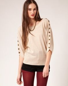 Jumpers, Button Sleeve Batwing Jumper - StyleSays