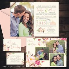 Beautiful Photo wedding invitation set with blush pink and watercolor flowers.  Perfect for a LDS temple wedding.  Designed by Jeneze Designs, www.jeneze.com