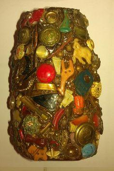"Vintage Memory Folk Tramp Art Spirit Jar Jug Vase 5 3 8"" Tall   eBay"